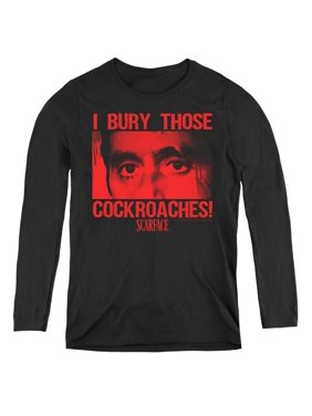 Trevco Sportswear UNI686-WL-1 Womens Scarface & Cockroaches Long Sleeve T-Shirt, Black - Small