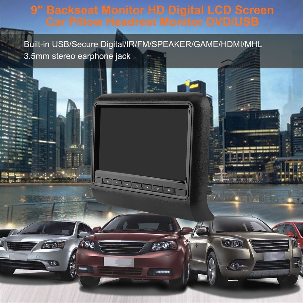 "9"" Backseat Monitor HD Digital LCD Screen Car Pillow Headrest Monitor DVD/USB"