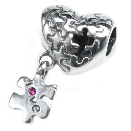 Queenberry Sterling Silver Autism Awareness Love Heart European Bead Charm Fits Pandora