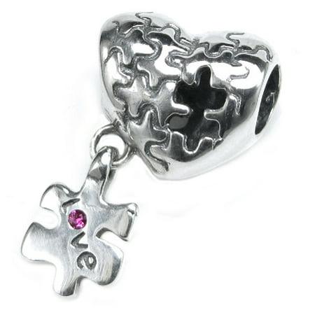Aids Awareness Charm (Queenberry Sterling Silver Autism Awareness Love Heart European Bead Charm Fits Pandora)