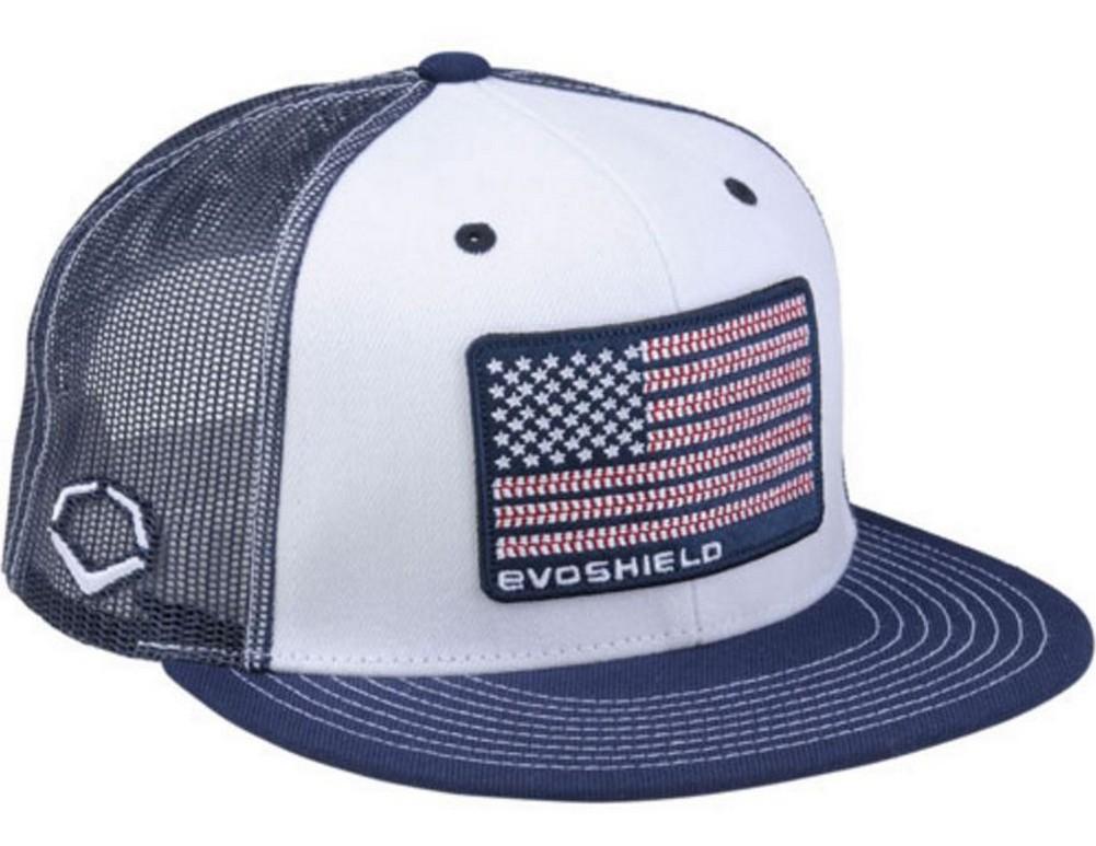... store evoshield flag patch snapback trucker hat white navy mesh cd78e  21e1a f99670ea4e46