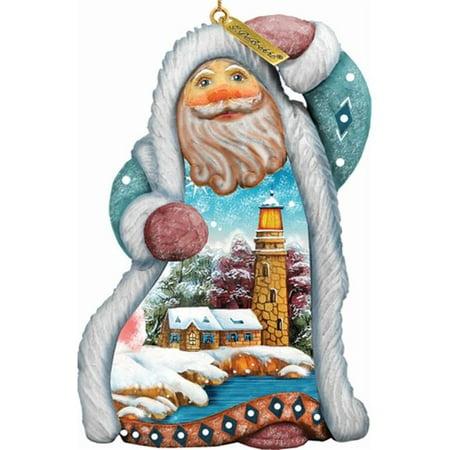 G Debrekht Derevo Santa Lighthouse Ornament Figurine With Scenic Painting