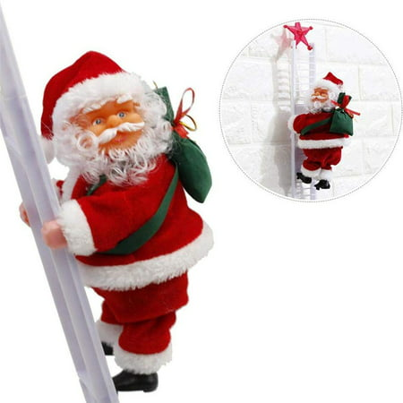 Electric Climbing Ladder Santa Claus Musical Xmas Hanging Decoration Ornament Gift Toy Christmas Electric Ornaments