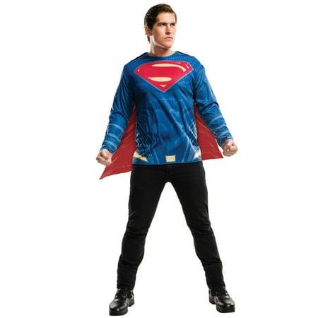 Plus Size Adult Batman V Superman: Dawn of Justice- Deluxe Superman Plus Costume (Batman Makeup)
