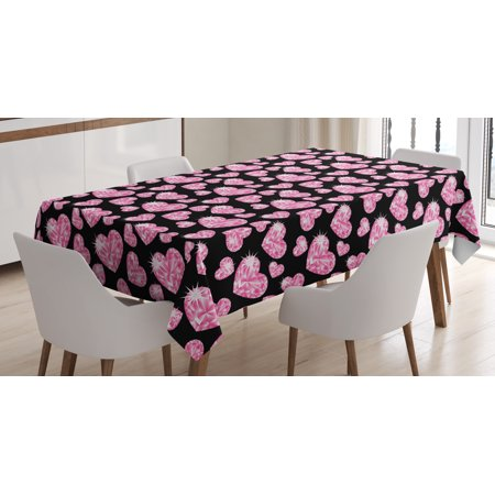 Diamonds Tablecloth, Romantic Pink Heart Stones on Black Background Lovely Valentines Day Theme, Rectangular Table Cover for Dining Room Kitchen, 52 X 70 Inches, Pale Pink Black, by Ambesonne - Valentine Tablecloth