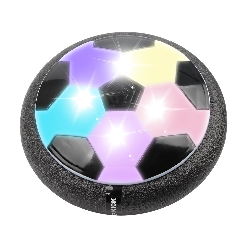 Air Power Soccer Disc, Pneumatic Suspended Football with Foam Bumpers and LED Lights,... by