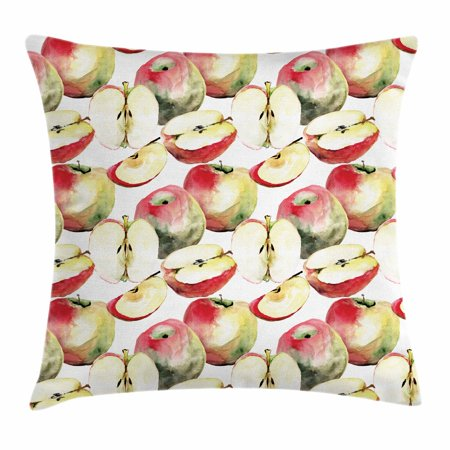Apple Throw Pillow Cushion Cover, Halved and Quartered Organic McIntosh Apples Gourmet Food Healthy Life, Decorative Square Accent Pillow Case, 18 X 18 Inches, Ivory Red Reseda Green, by Ambesonne