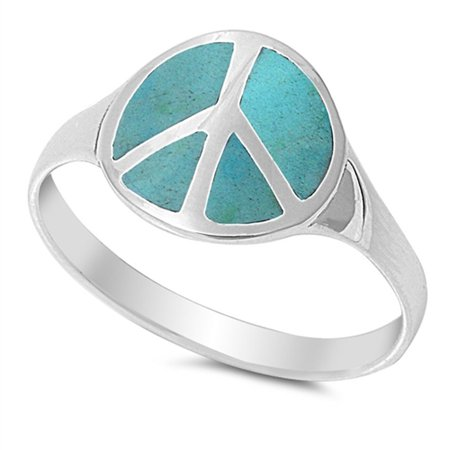 CHOOSE YOUR COLOR Simulated Turquoise Peace Sign Polished Cute Ring New .925 Sterling Silver Band (Simulated Turquoise/Ring Size 10)