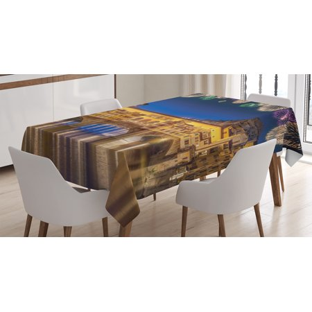 Apartment Decor Tablecloth, Night Panoramic View of Vecchio Bridge Florence Italy with Fireworks, Rectangular Table Cover for Dining Room Kitchen, 52 X 70 Inches, Gold Navy Purple, by Ambesonne