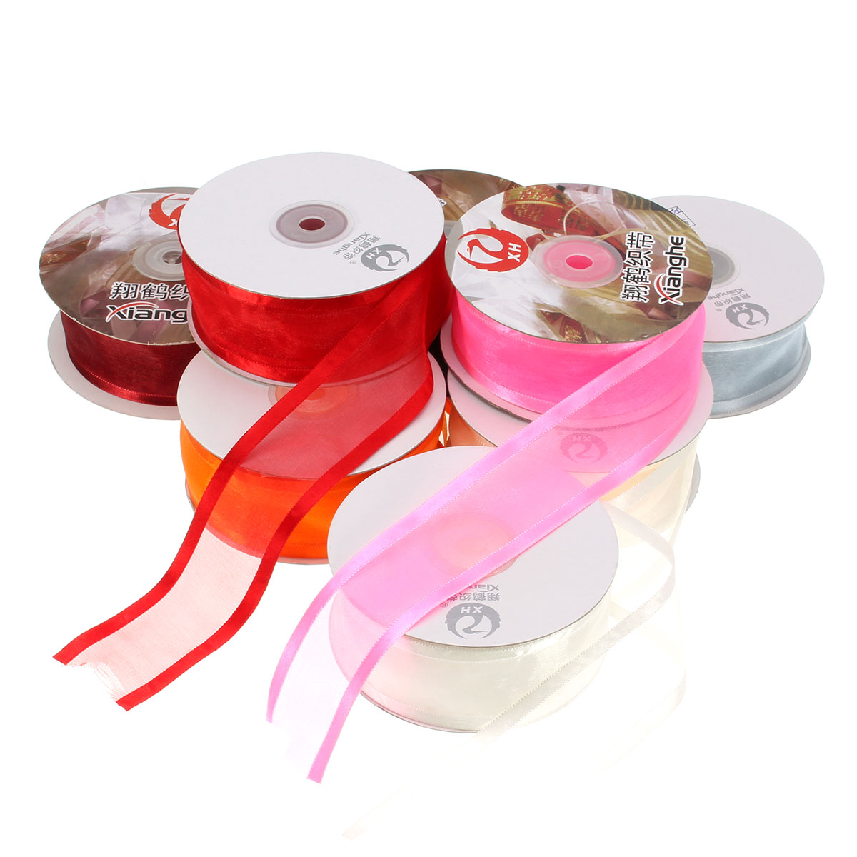 25 Yard x 1.50'' Satin Edge Sheer Organza Ribbon Two Striped Satin Edge Colorful
