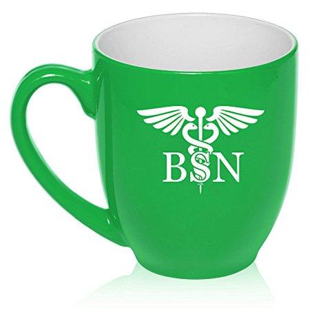 16 oz Large Bistro Mug Ceramic Coffee Tea Glass Cup BSN Bachelors Of Science Nurse Caduceus (Green) - Science Cup
