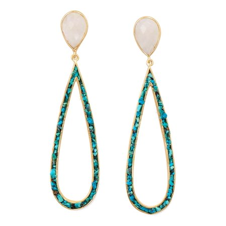 Rainbow Moonstone Chip (Rainbow Moonstone Turquoise Chip Teardrop Earrings Gold-plated Sterling)