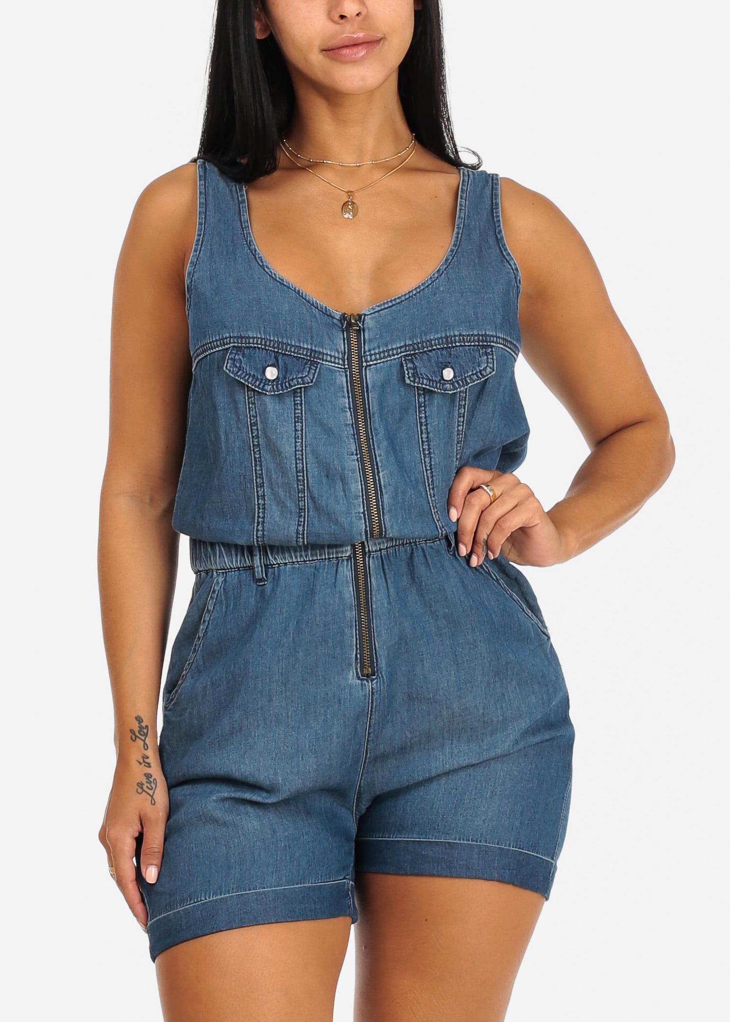 Womens Juniors Med Wash Sleeveless Front Zipper Elastic Waist Denim Romper 10014J