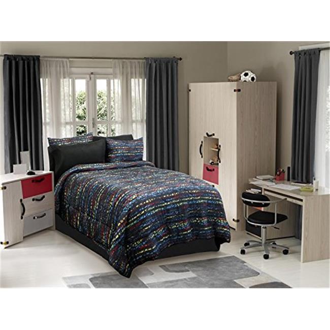 Veratex VX736425630330 Urban Kid Comforter Set, Black Multi - Full - image 1 de 1