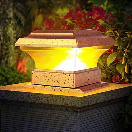 Kozecal Solar Power Fence Post Lights Waterproof Outdoor Garden Landscape Yard Pillar Lamp Warm Light, Pillar Light, Solar Power LED Lamp ()