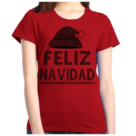 Shop4Ever Women's Feliz Navidad Christmas Graphic T-Shirt - Sesame Street Purple Character