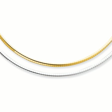 14K White And Yellow Gold 3 MM White and Yellow Reversible Domed Omega Necklace, (14k White Gold Omega Necklace)
