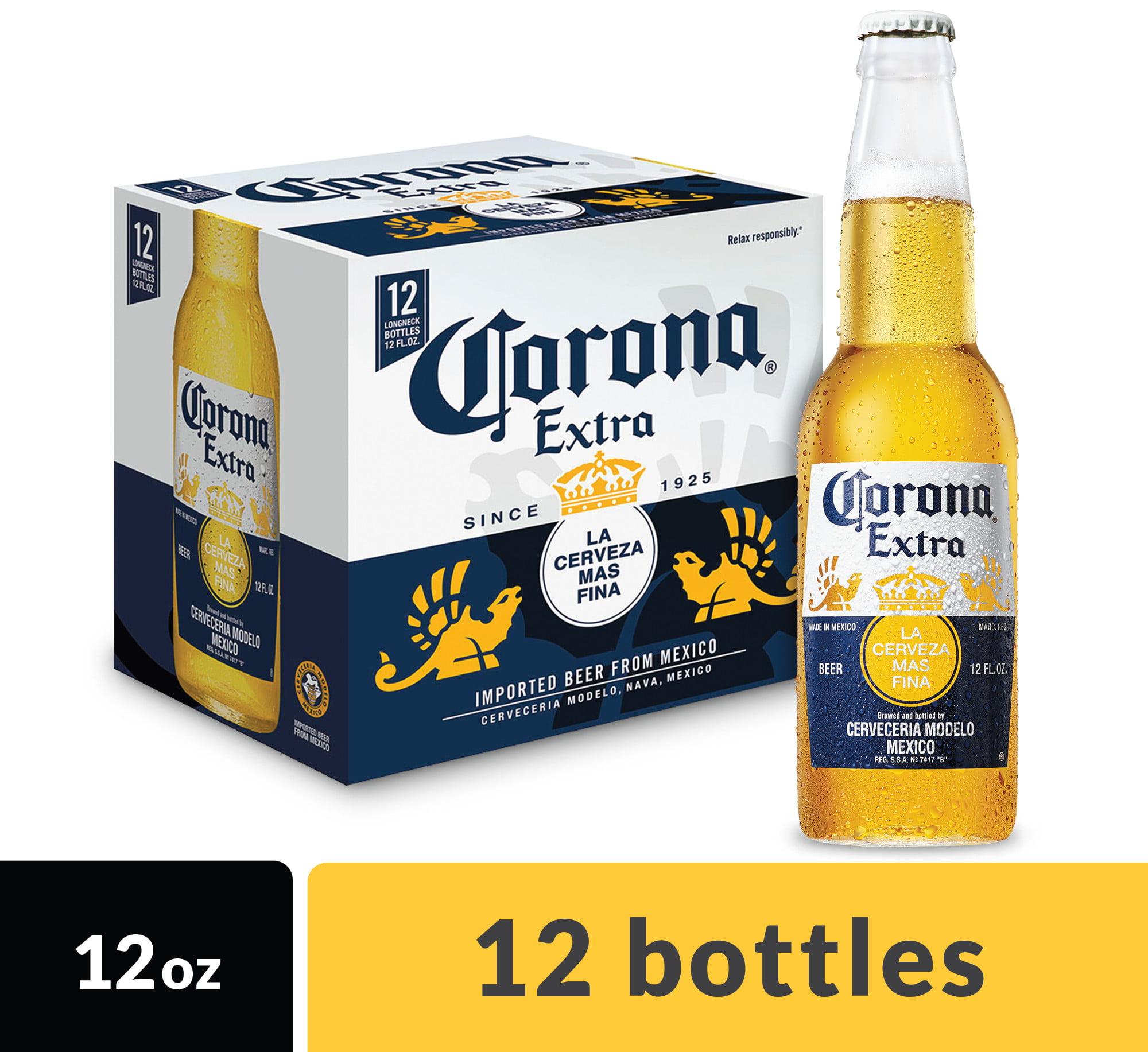 Corona Extra Mexican Import Beer, 12 pk 12 fl oz Bottles, 4.6% ABV