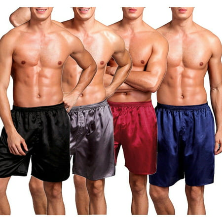Men Sleepwear Underwear Silk Satin Boxers Shorts Nightwear Pyjamas L XL