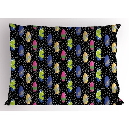 Surfboard Pillow Sham Colorful Boards in Memphis 80s Retro Style Abstract Summer Themed Fun Pattern, Decorative Standard Size Printed Pillowcase, 26 X 20 Inches, Multicolor, by Ambesonne