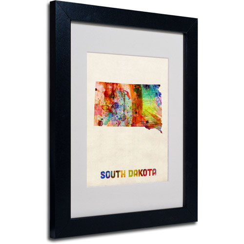 "Trademark Fine Art ""South Dakota Map"" Matted Framed Art by Michael Tompsett, Black Frame"