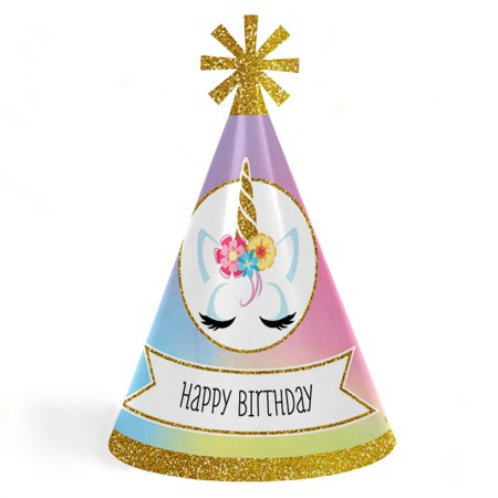 Happy Birthday Hats (Rainbow Unicorn - Cone Magical Unicorn Happy Birthday Party Hats for Kids and Adults - Set of 8 (Standard)