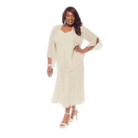 R&M Richards Women\'s Plus Size Beaded Jacket Dress - Mother of the Bride  Dresses