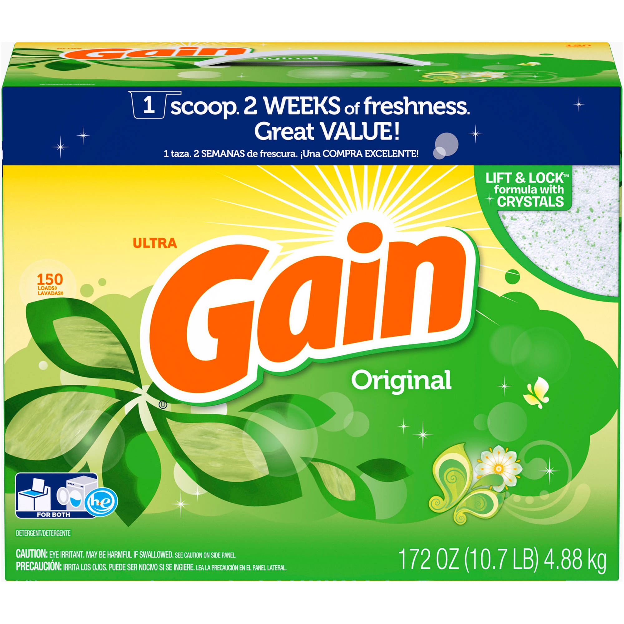 Gain Powder Laundry Detergent, Original Scent, 150 loads, 172 oz
