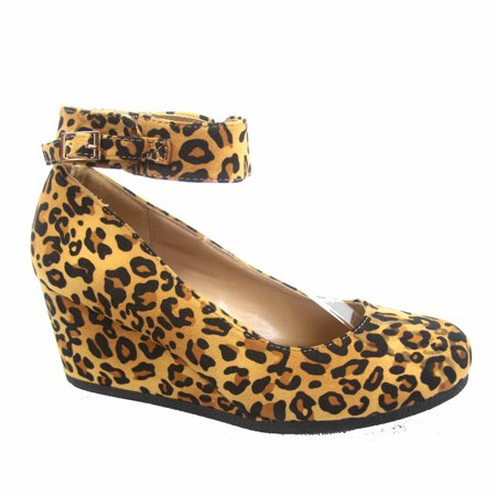 Women's Classic Causal Round Toe Low Wedge Platform Heel - Platform Shoes From The 70s