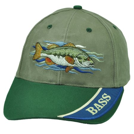 Bass fishing outdoor camping fish olive green velcro hat for Fishing hats walmart
