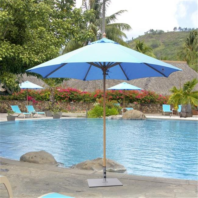 Galtech 9 ft. Light Wood Commercial Umbrella - Chocolate Brown