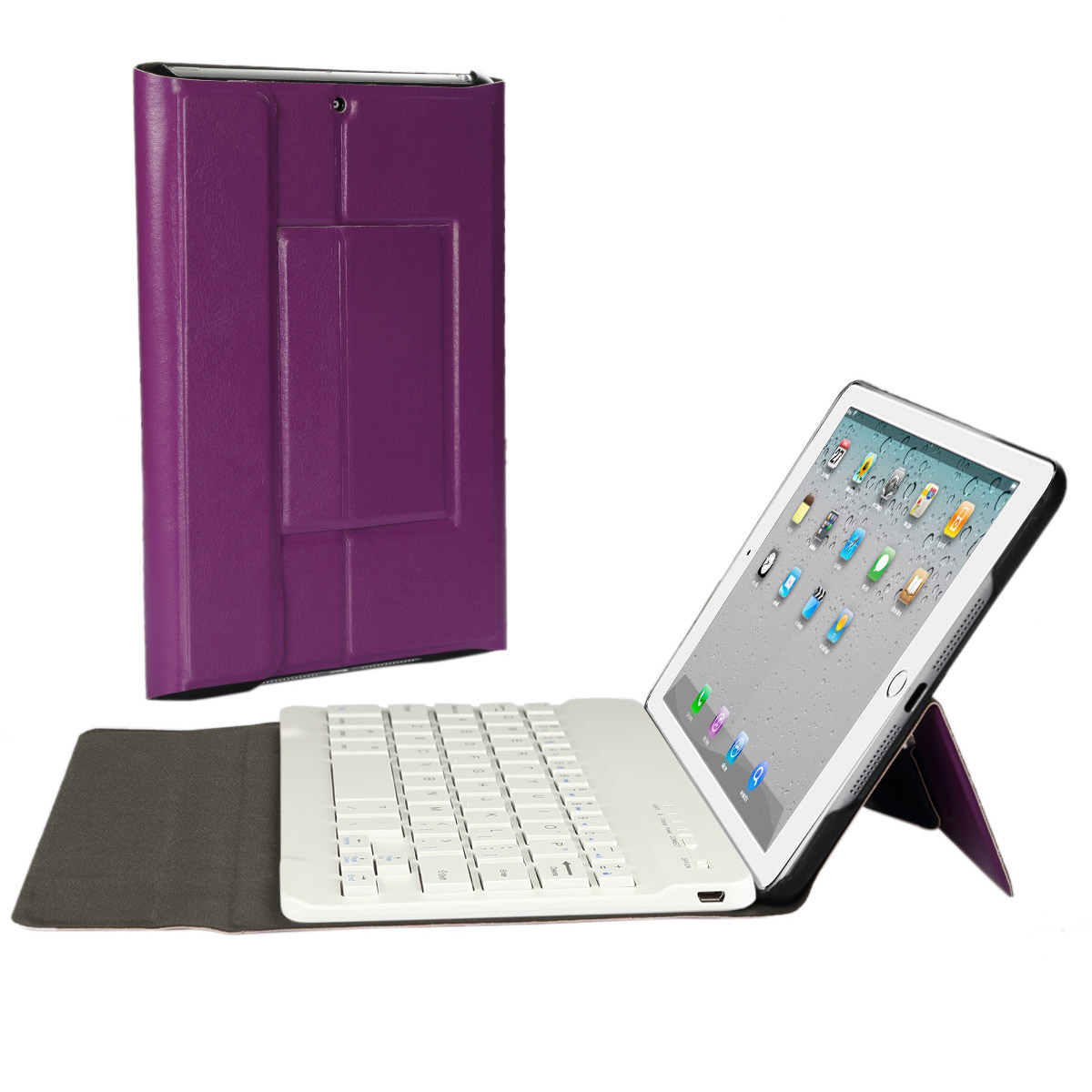 iPad mini 1/2/3 Bluetooth Keyboard Case, CoastaCloud Bluetooth Ultra Slim Removable Smart Shell Stand Cover with Magnetic Detachable Universal Wireless Keyboard for Apple iPad mini 3/2/1 (Purple)