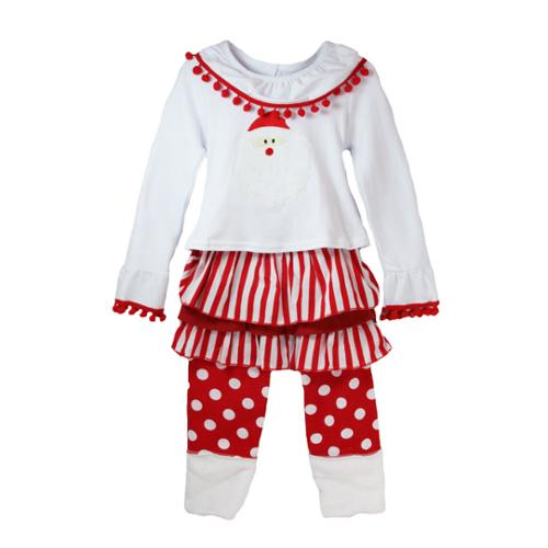 Little Girls White Red Santa Christmas Boutique Pant Outfit Set 2T