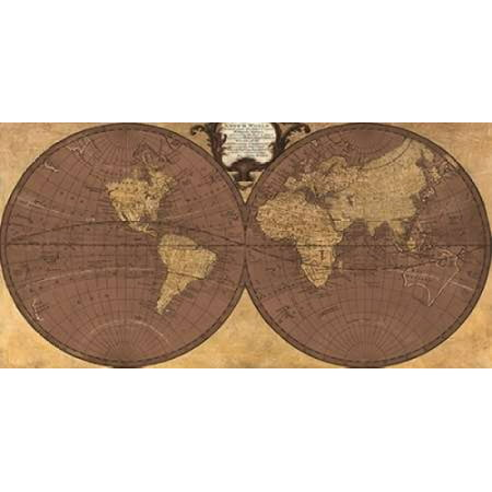 Posterazzi Gilded World Hemispheres Ii Canvas Art   Joannoo  24 X 48