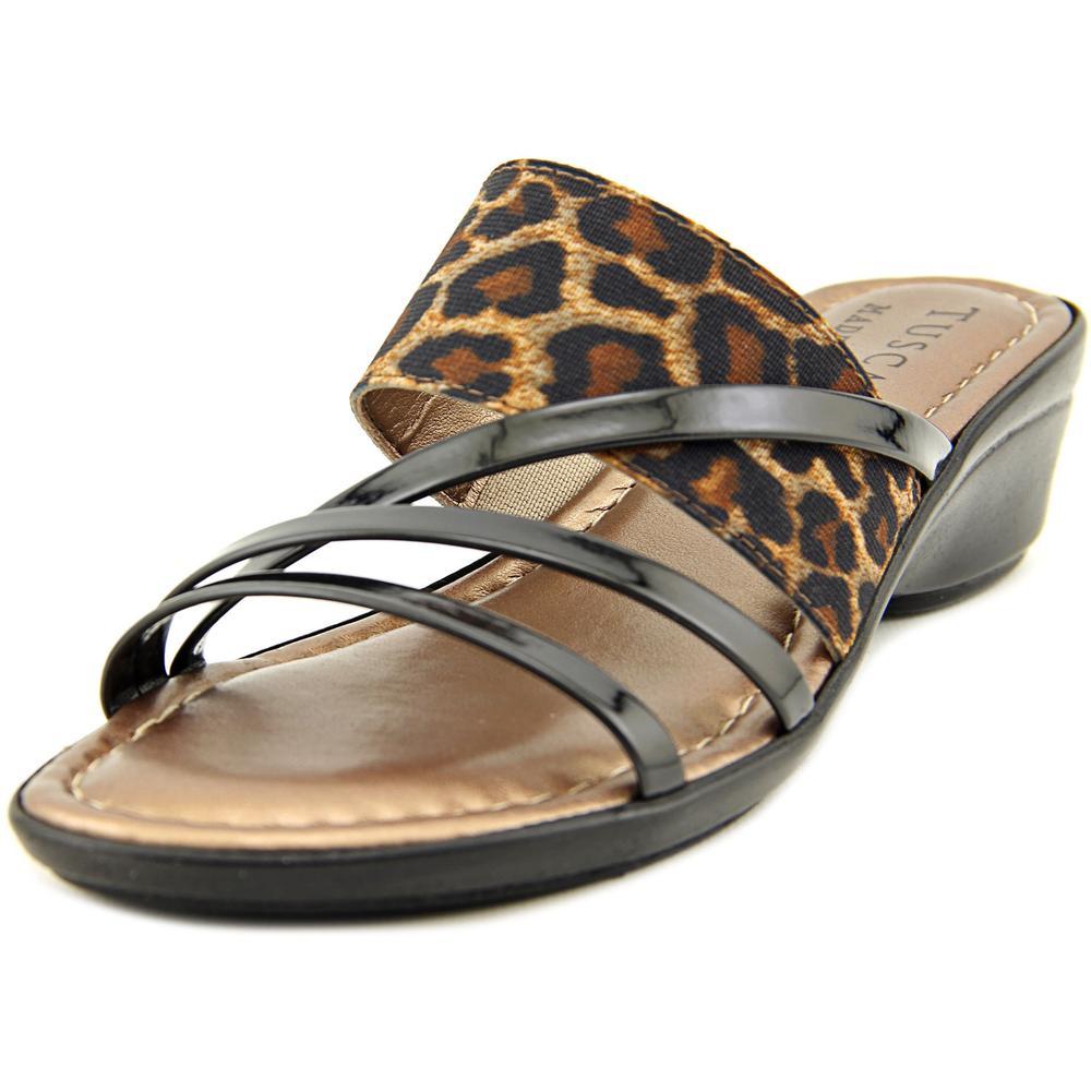 Easy Street Atessa Women Open Toe Canvas Black Slides Sandal by Easy Street