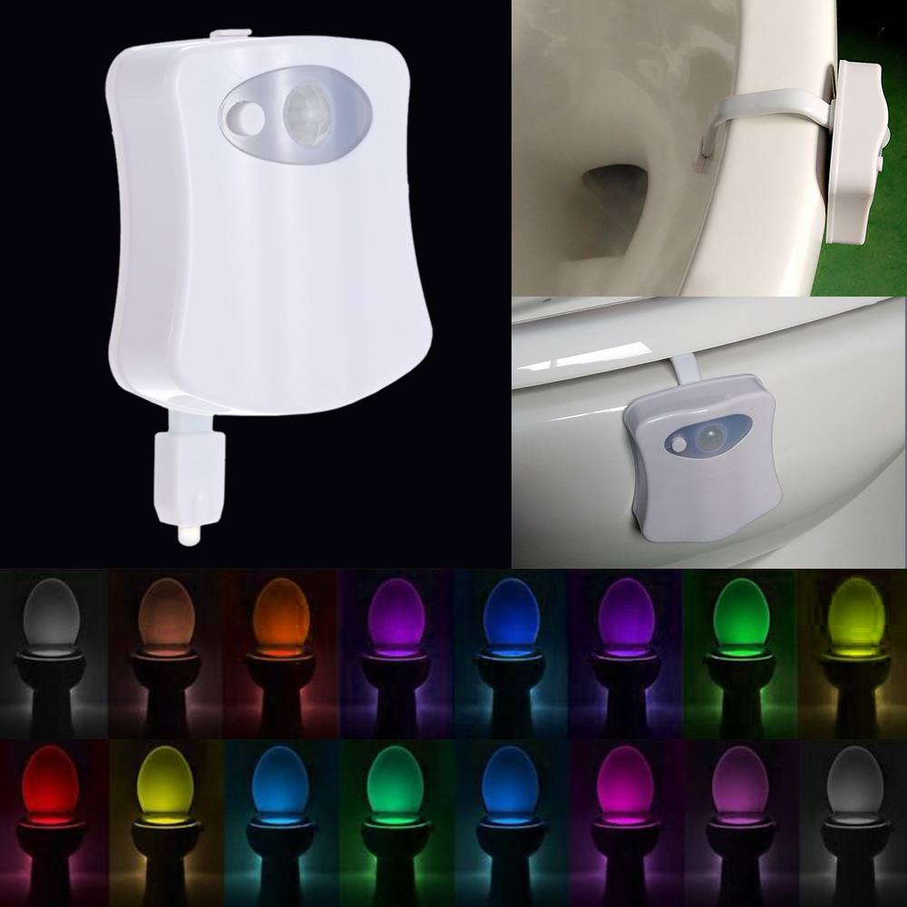 Motion Sensor LED Toilet Night Light 16 Colors Dusk to Dawn Auto On / Off Bathroom Lamp