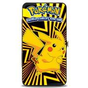 Pokemon Pikachu Pose Rays Black Yellows Hinged Wallet  One Size