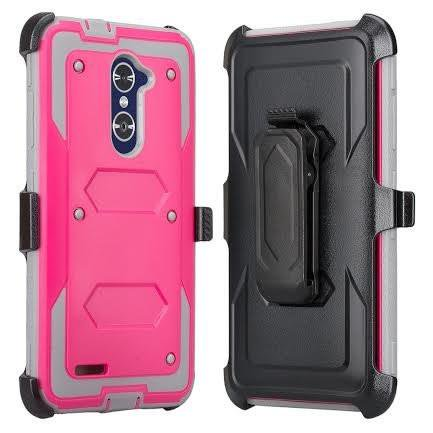 ZTE Max Duo LTE, ZTE Carry, Blade X Max, ZTE ZMAX Pro Case, ZTE Grand X Max 2 Case, Imperial Max Case, Rugged [Shock Proof] Heavy Duty Belt Clip Holster with Built In Screen Protector - Hot Pink/Grey