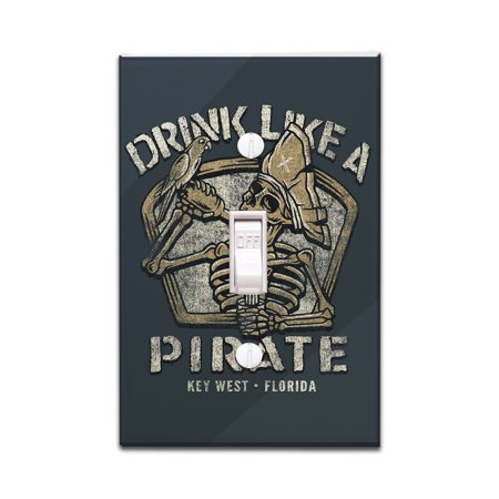 Key West, Florida - Drink Like a Pirate - Lantern Press Artwork (Light Switchplate Cover) - Key West 3 Light