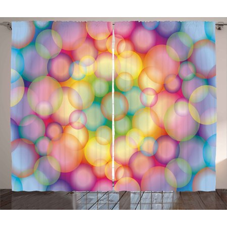 - Modern Curtains 2 Panels Set, Colorful Hazy Balls Circular Hoops Bubbles Bright Rainbow Style Dreamy Art Print, Window Drapes for Living Room Bedroom, 108W X 90L Inches, Multicolor, by Ambesonne