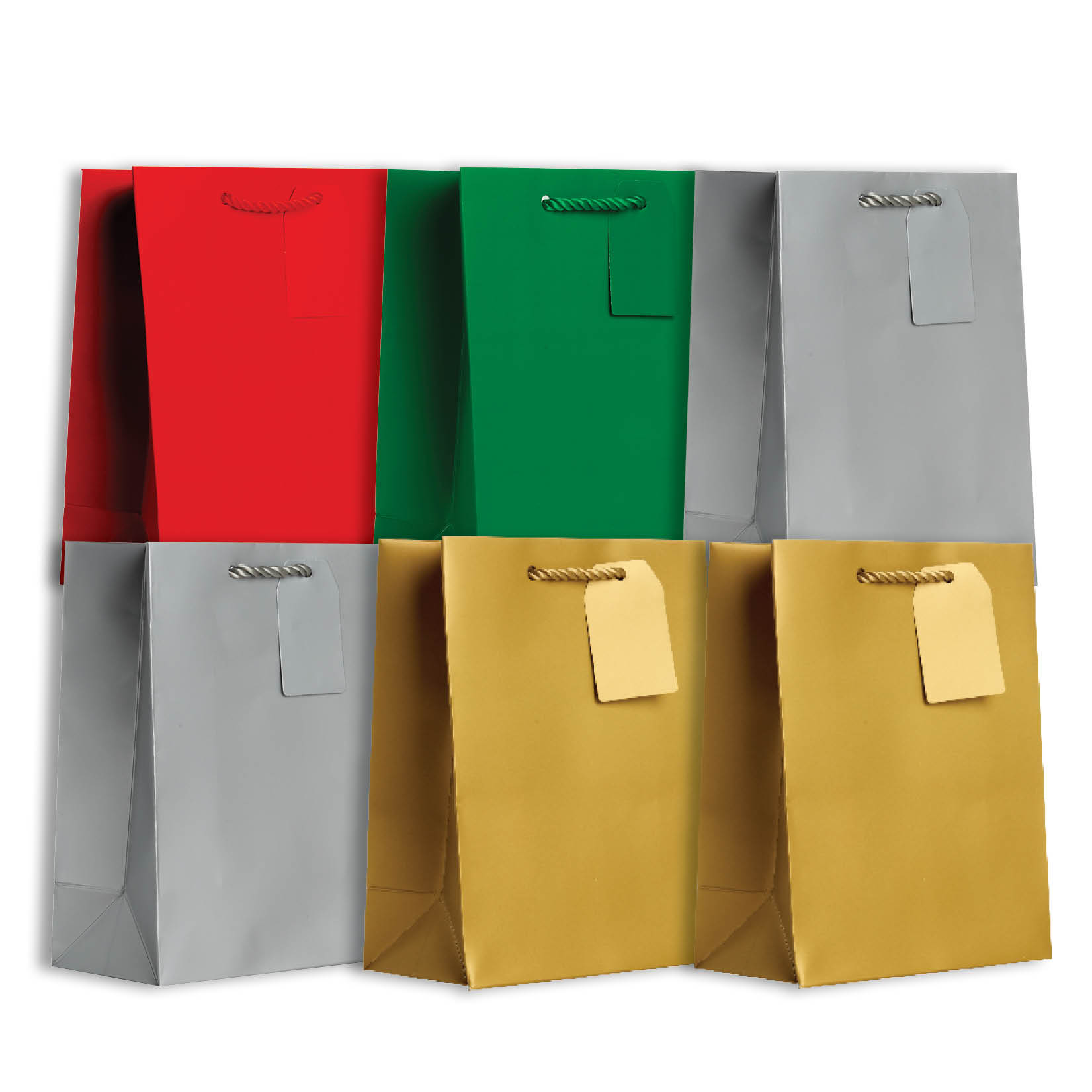 Jillson & Roberts Solid Color Matte Medium Gift Bag Assortment, Christmas (6 Bags)