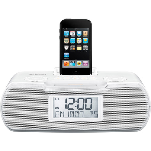 FM-RBDS / AM / Aux-in Digital Tuning Atomic Clock Radio with iPod Dock, White