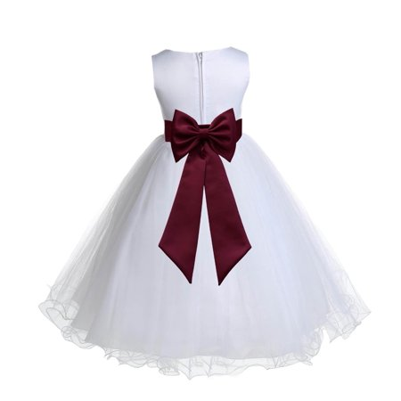 Ekidsbridal Satin White Burgundy Tulle Rattail Edge Christmas Junior Bridesmaid Recital Easter Holiday Wedding Pageant Communion Princess Birthday Girl Clothing Baptism 829T size 4 Flower Girl Dress