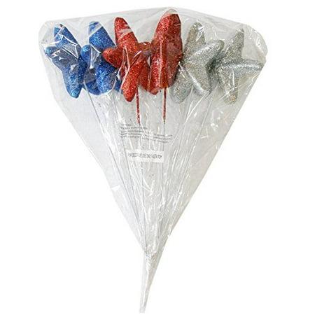 Foam Glitter Red, Blue & Silver Stars Flower Picks (Set of 6) - Foam Flower