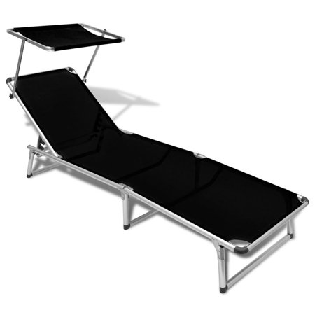 Folding Sun Lounger with Roof Aluminium and Textilene Black ()