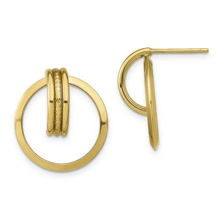 Primal Gold 14 Karat Yellow Gold Diamond-cut Center Triple Wire in Circle Post Dangle Earrings