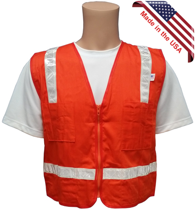 Cotton Surveyors Vest - Orange with Silver Stripes - Made in USA - 5XL size
