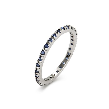Sapphire Sterling Silver Eternity Bands (Sapphire CZ Sterling Silver Stackable Eternity Band )