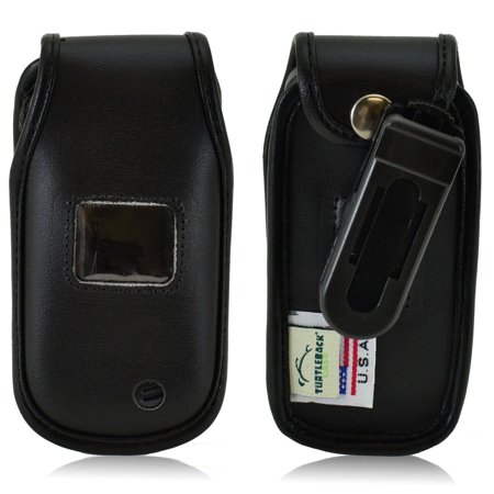 Usa Black Leather (Turtleback Fitted Case made for LG Envoy 3 III UN170 Flip Phone Black Leather Rotating Removable Belt Clip Made in USA )