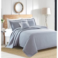 Sherry Kline Rombo Embroidered 3-piece King Light grey Cotton Quilt Set